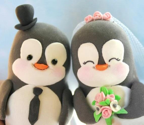 Custom Penguin wedding cake toppers - bride and groom personalized elegant love bird