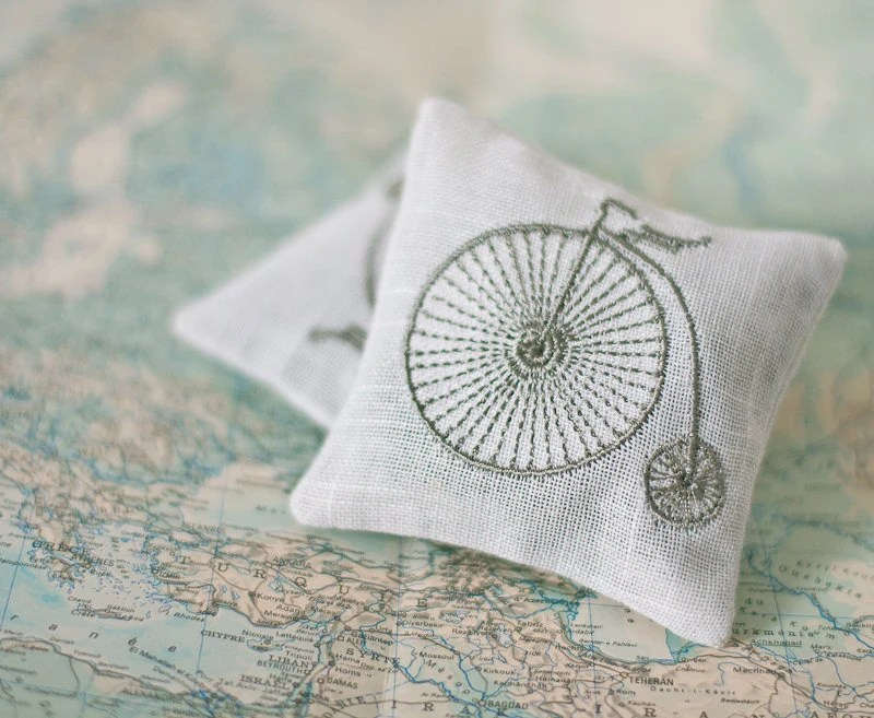 Lavender Sachets RETRO BIKE- Set of Two Linen Embroidered Cushions