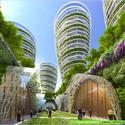 Torres Antismog desde el nivel de calle. Imágen cortesía de Vincent Callebaut Architect