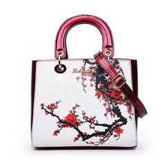 Elegant Vintage Women Tote PU Leather Commuter Handbags Flower Design Shoulder Bags Crossbody Bags