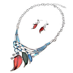 European Leaves Enamel Inlay Crystal Necklace Earrings Jewelry Set