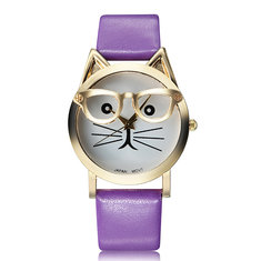 Fashion Casual Cat With Glasses Round Dial PU Leather Band Women Quartz Wrist Watch