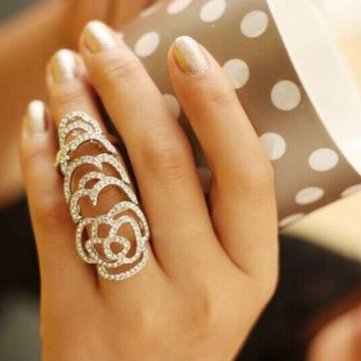 Silver Gold Plated Crystal Rhinestone Flower Hollow Joint Knuckle Ring At Banggood Sold Out