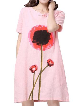 Loose Women Flower Printing Short Sleeve Cotton Linen Dress