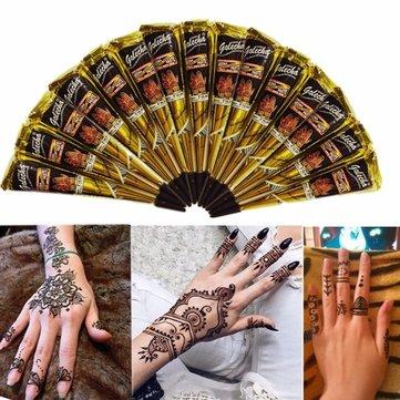 3pcs black natural herbal henna cone temporary tattoo body art tattoos hair loss at banggood