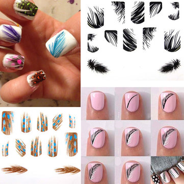 Mixed Designs Nail Decals Pea Feather Art Stickers