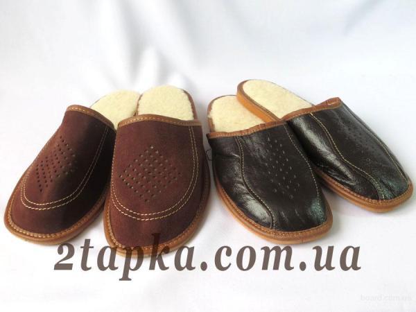 Мужские домашние тапочки. Домашняя обувь. Натуральная кожа ...