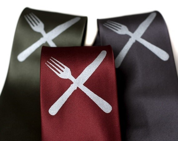 Knife and fork silkscreened microfiber necktie. Eat Me.