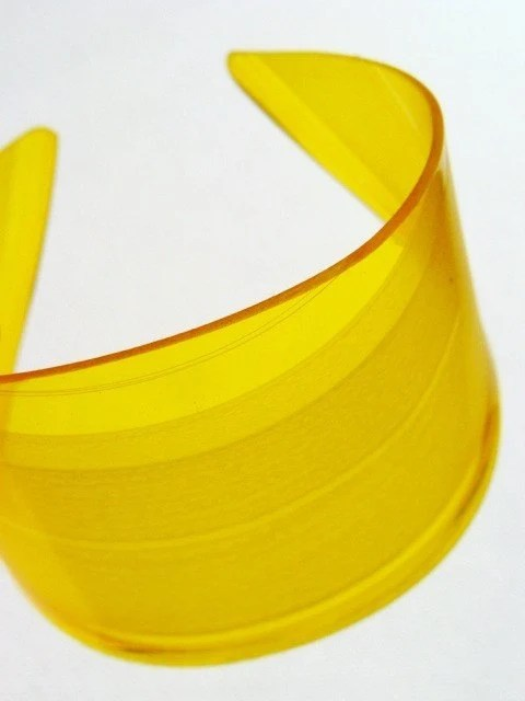 Yellow Vinyl Color Block Cuff Bracelet Made From Recycled Record - EyePopArt
