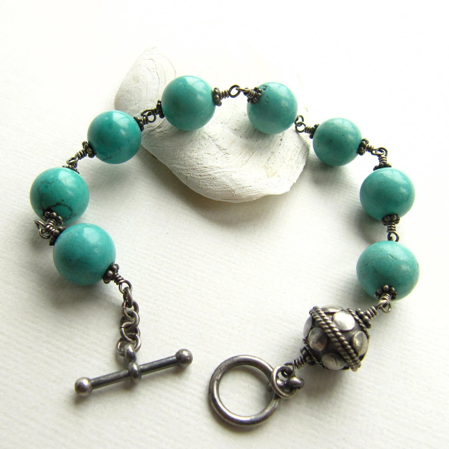 Wire Wrapped Bracelet Turquoise Silver - mylenefoster