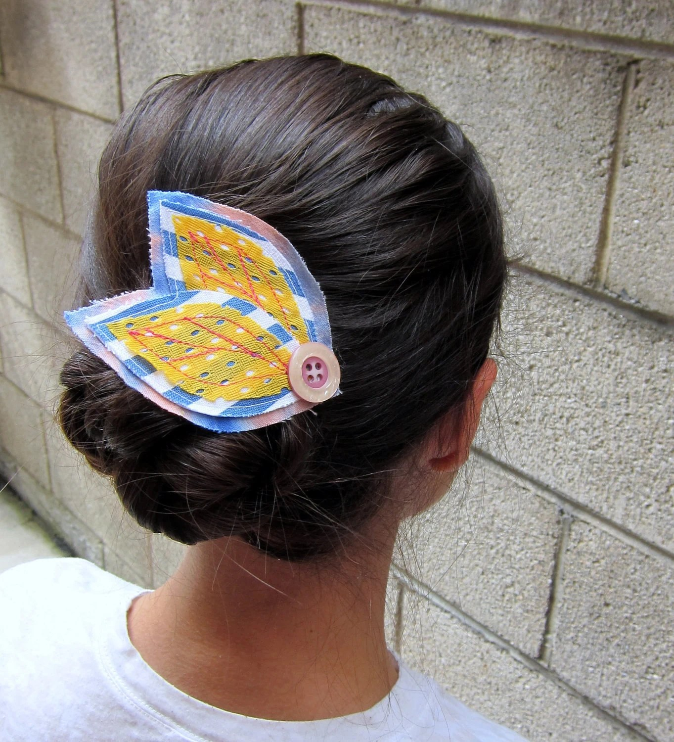 Yellow Mesh Leaves Blue and White Striped Pink Tie Dye Hair Barrette - pheajean