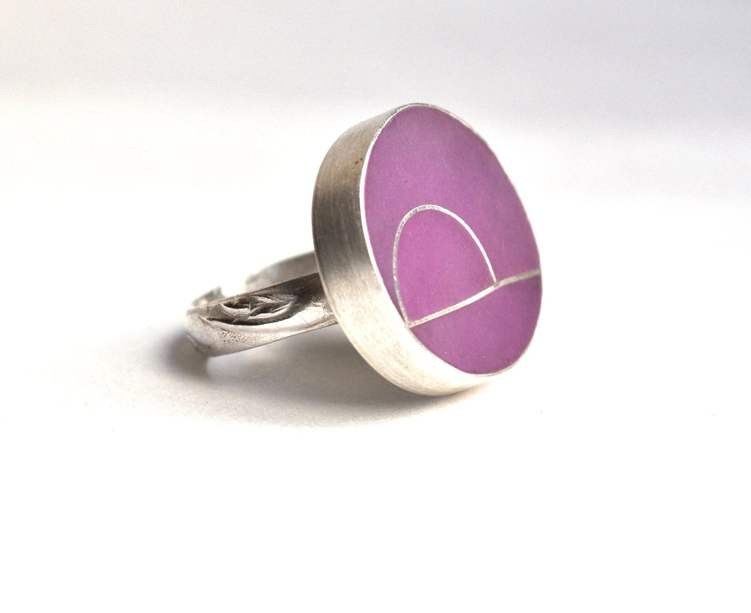 Lavender Resin and Sterling Silver Ring - KarlaWheelerDesign