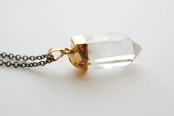 Crystal Necklace - Raw Quartz Gold Dipped - MEDIUM - Christmas Gifts Under 50 - Handmade Jewelry - Free Shipping in the US