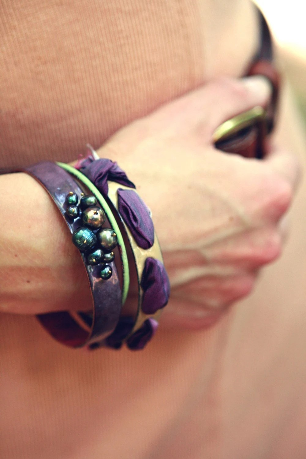 Damson Finery - Enameled Bangle Set - bullfinchbarbury