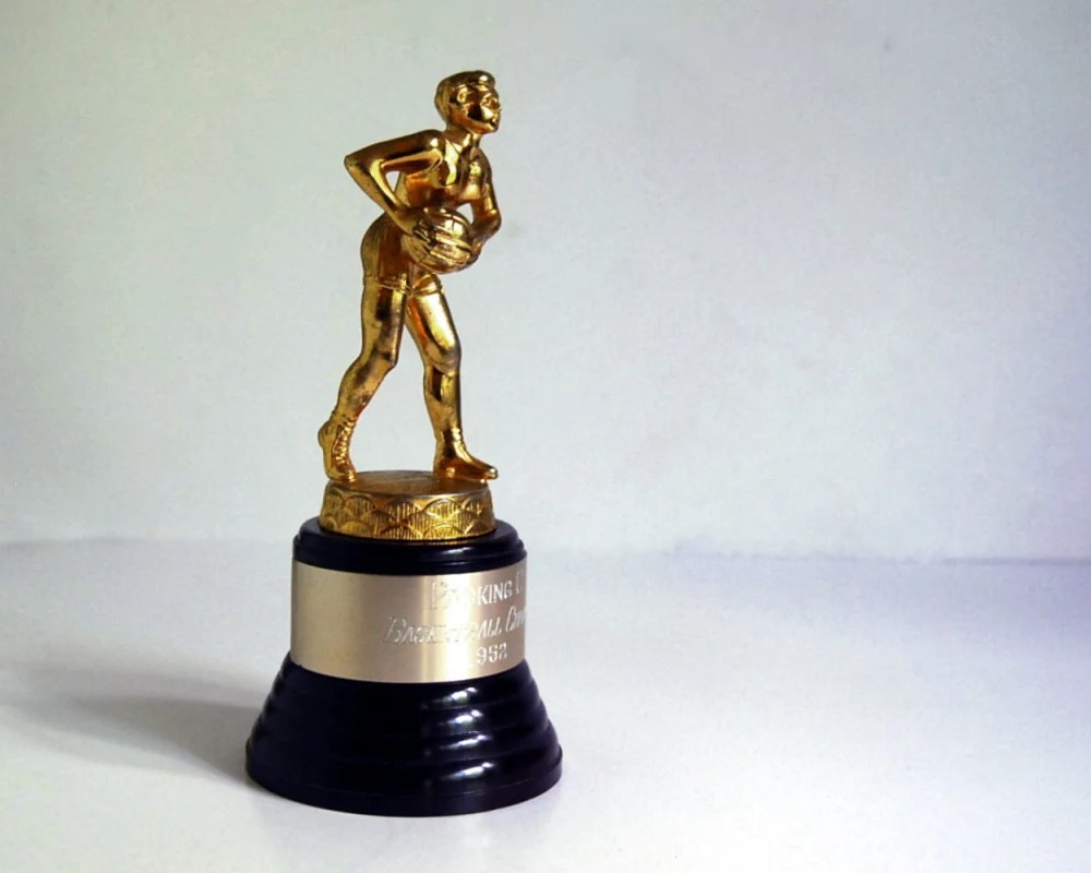 Vintage Trophy 1950s Womens Basketball Sports Trophy Figurine with Bakelite Base - CalloohCallay