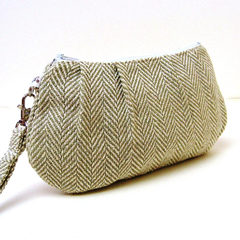 Pleated Wristlet Clutch Purse - Khaki Grey Green Herringbone