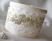 Bridal Wedding Accessory Hand Embroidered Cuff Hydrangea Magnolia - Waterrose