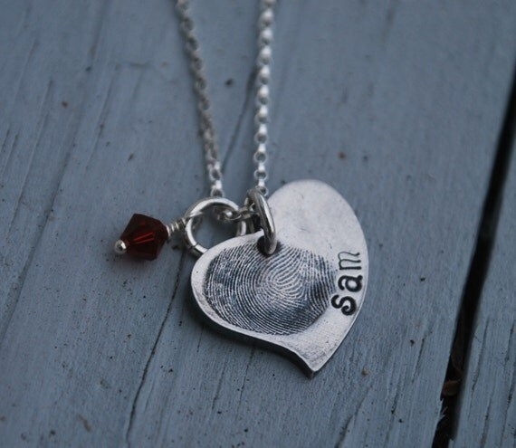 Fingerprint Heart Jewelry--heart necklace--thumbprint--Rustic-as seen on kaboodle.com--special keepsake- mom necklace-grandmother