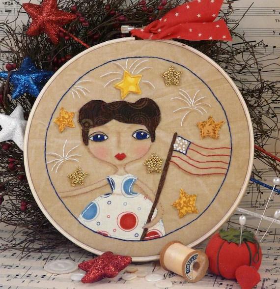 Liberty flag Girl Stitchery hoop art PDF Pattern - email patriotic americana bead fabric vintage embroidery retro design
