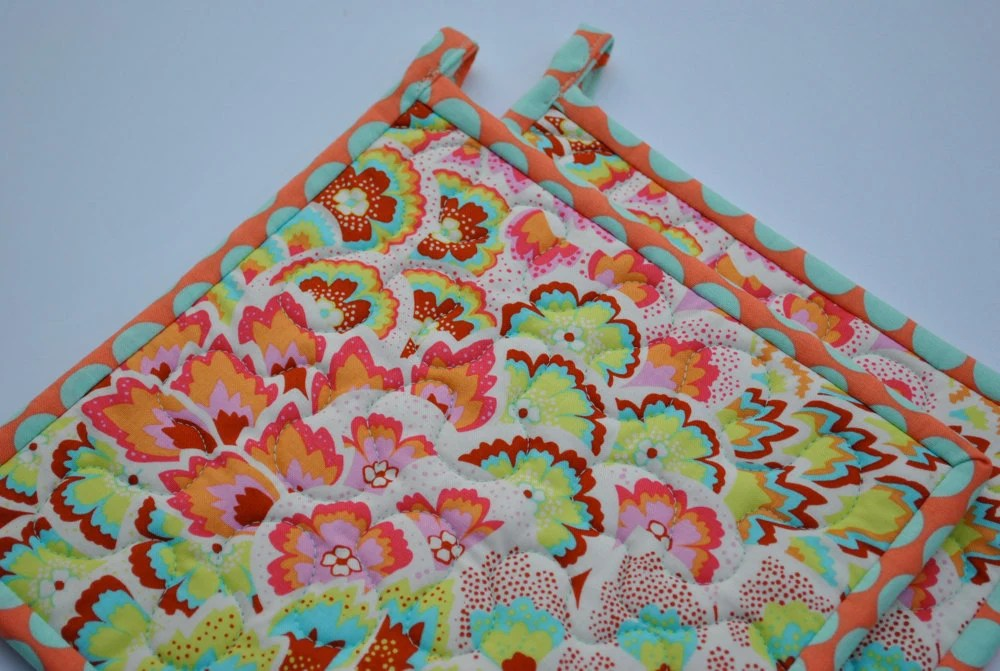 Handmade Pot holders Contemporary Amy Butler Soul Blossoms