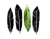 Green and Black Feathers- Original Watercolor painting - annatovar