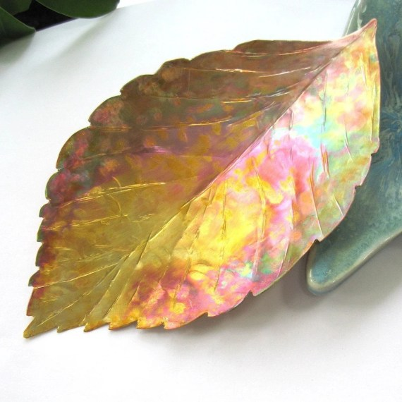 Copper Home Decor Small Tray American Beech Leaf - RoughMagicCreations