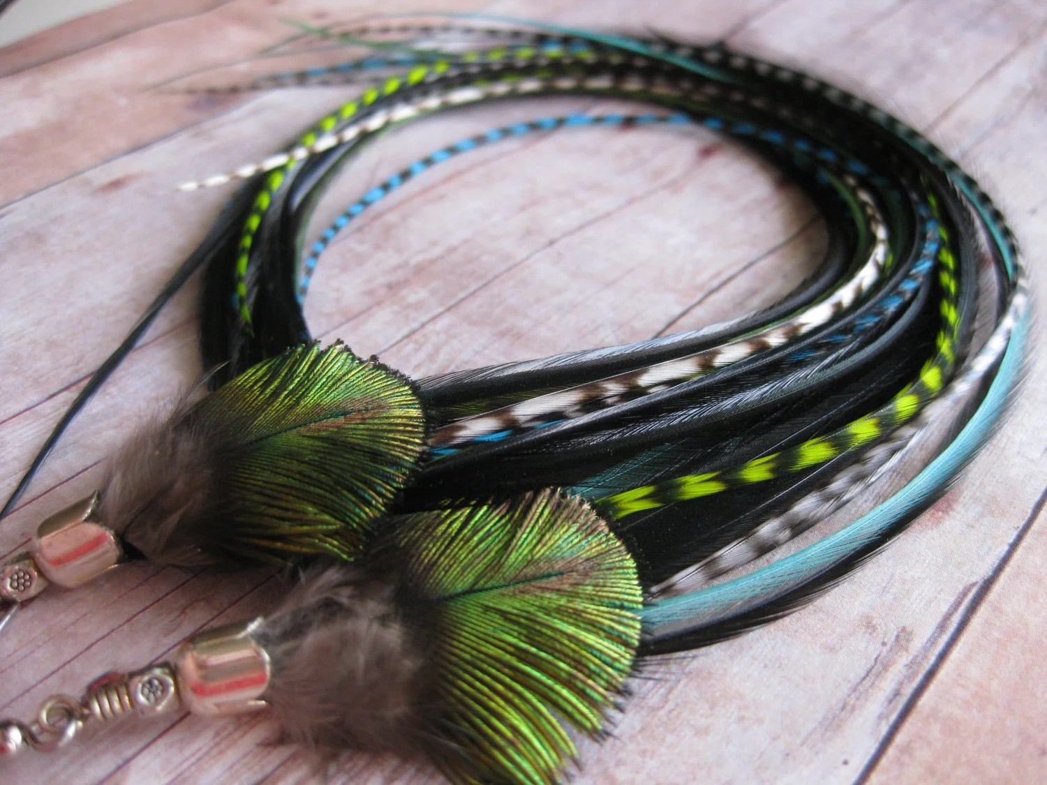 NEON SUMMER -  Neon Green/Aqua Grizzly Mix Long feather earrings  Bright Bohemian Summer  Boho Chic - shayDdesign
