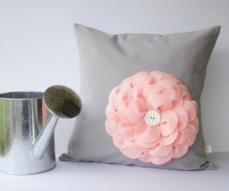 "Pastel Pink Felt Flower 16"" DECORATIVE PILLOW Gray Linen White Button by JillianReneDecor Nursery Decor Floral Baby Shower Gift for Her - JillianReneDecor"