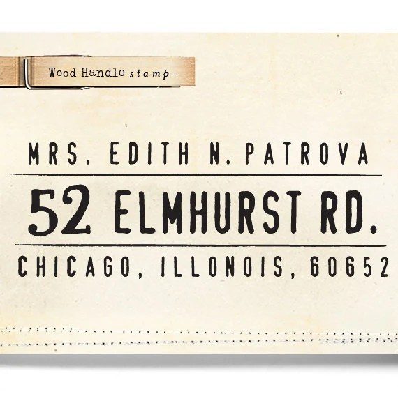 Custom Return Address Stamp - Wood Handle - cute birthday wedding bridesmaid gift - 1207