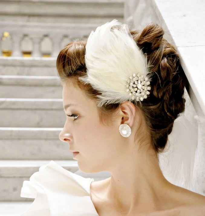 Wedding Hair Accessories Ivory Bridal Feather Clip or Headband - bethanylorelle