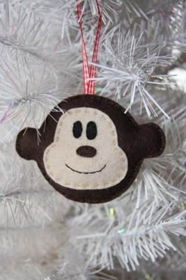 Felt Cheeky Monkey Christmas Tree Ornament