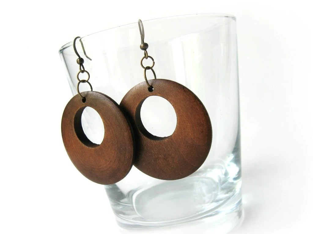 Natural Wood brown circular dangle earrings for her - AnnyMay