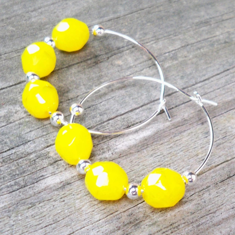 Alina - Bright Yellow Faceted Czech Glass Beaded Silver Hoop Earrings - Tessyla