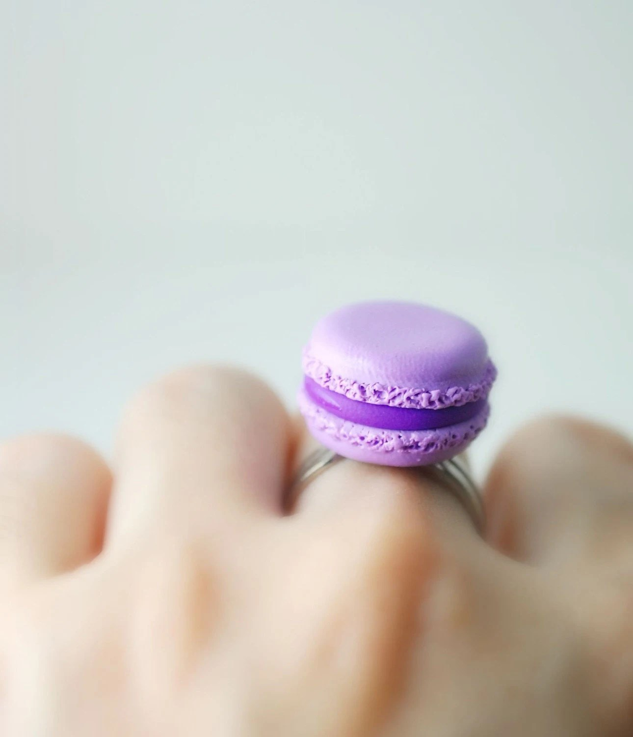 Lavender French Macaroon Ring Handmade Miniature Food Polymer Clay  Jewelry