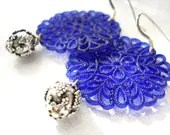 SALE Sterling Silver Blue Filigree Earrings, Cobalt Blue, Silver Bells, Feminine, Boho Jewelry - ChelseaGirlDesigns