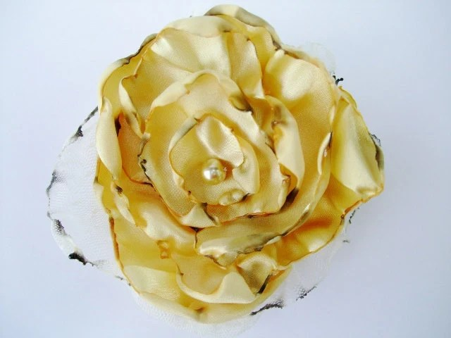 Yellow Flower Accessory, Hair Clip or Brooch, Bridal Sash, Wedding - OurPlaceToNest