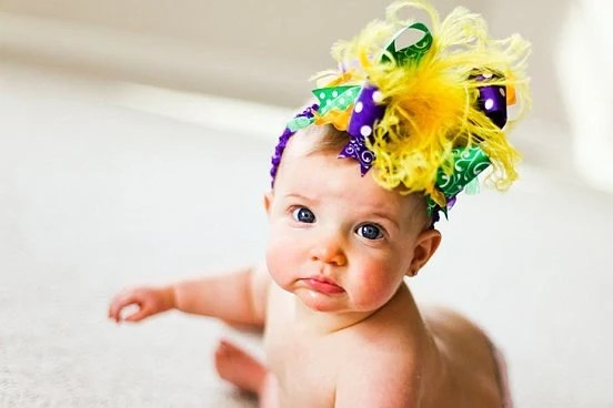 Mardi Gras Purple Green and Gold Over The Top  Bow on matching Headband Free Shipping On All Addional Items - loveablebabyboutique