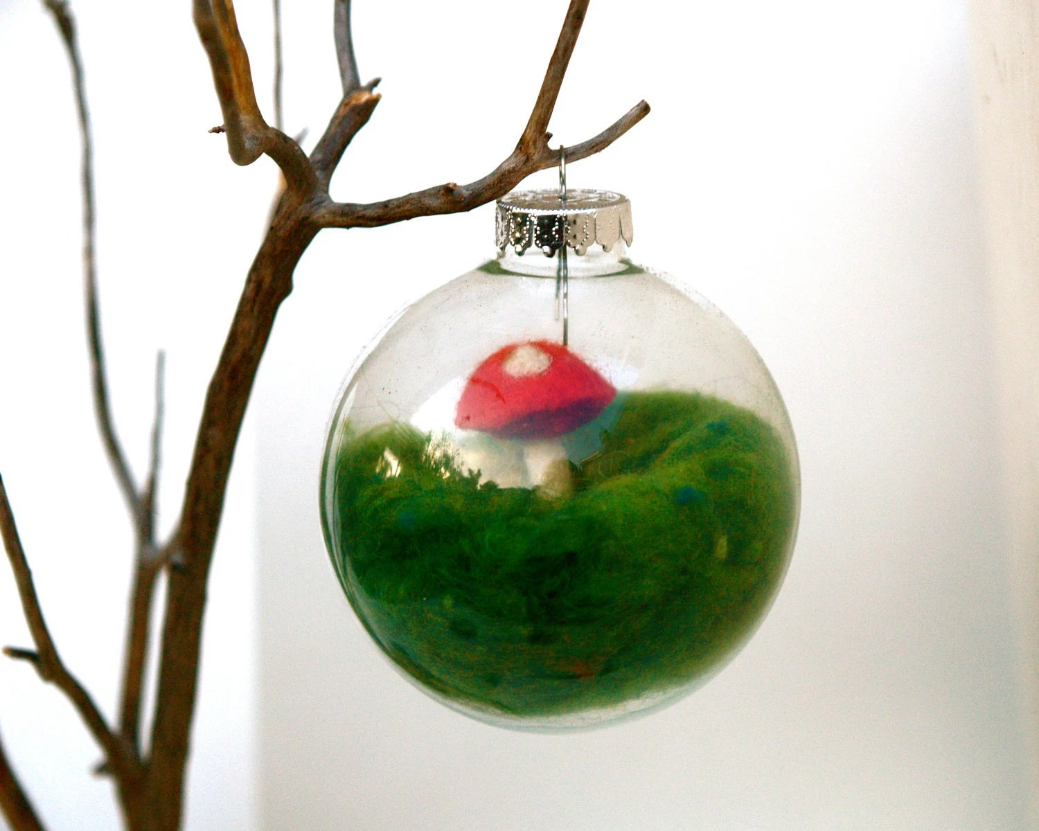 Handmade Ornament Toadstool, Glass Globe Tree Decoration needle felted Christmas woodland alice in wonderland red green moss - Fairyfolk