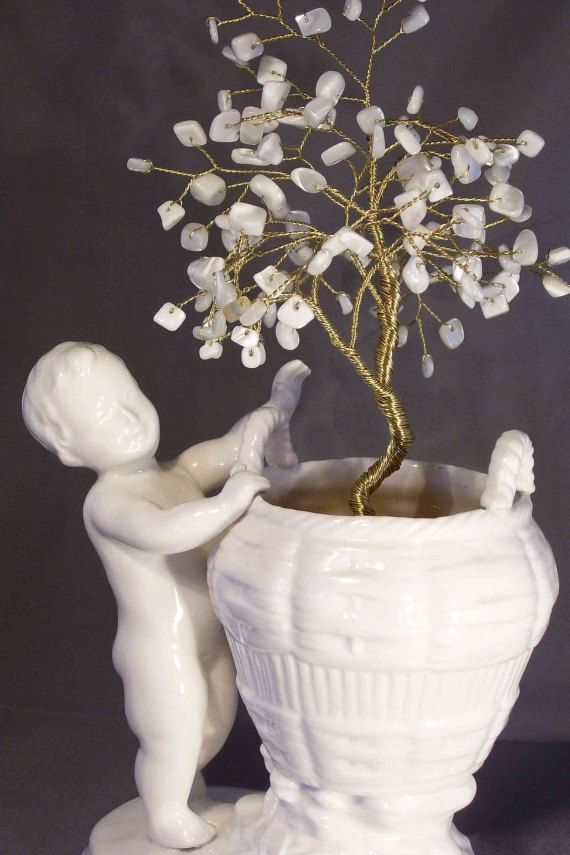 Ivory Boy Beaded Bonsai - SmilinMoonWorkshop