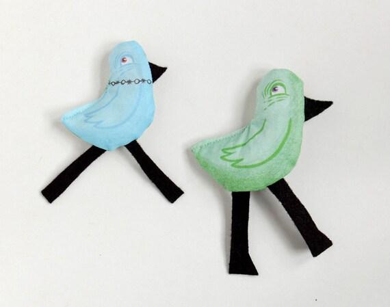 Blue Bird with Long Black Legs - Plush Magnet