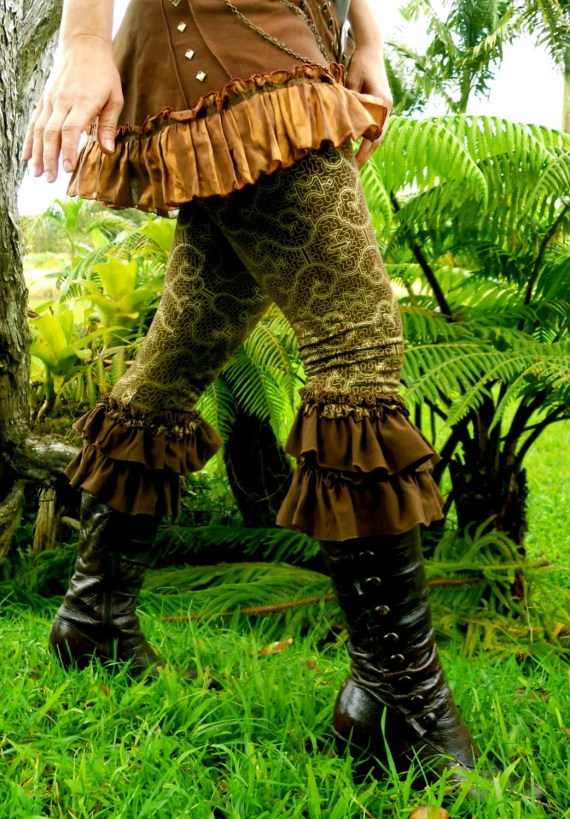 Medium - Brown and Gold Shipibo Ruffle Pants - Sacred Geometry Wearable Art  - Hand Screened - Bloomers - Dance - Yoga - Onanya