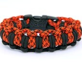 Paracord Survival Bracelet Half Hitch Alt - Black and Neon Orange Camo - theangryrobot