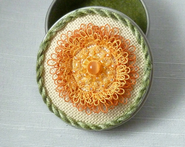 Tatted Flower Keepsake Box -The Orange Blossom