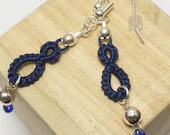 Tatted earrings in Navy with Sterling beads -Drops