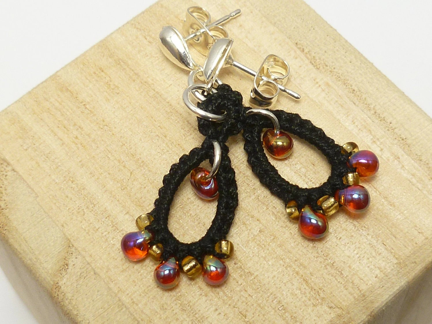 Tatted lace earrings black gold amber -Drips