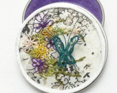 Embroidered Tatted small Box with Lace Flowers and Butterfly -Vivien's Playground