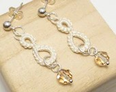 Tatted  Drop earrings in Cream with Swarovski Crystals -Drops