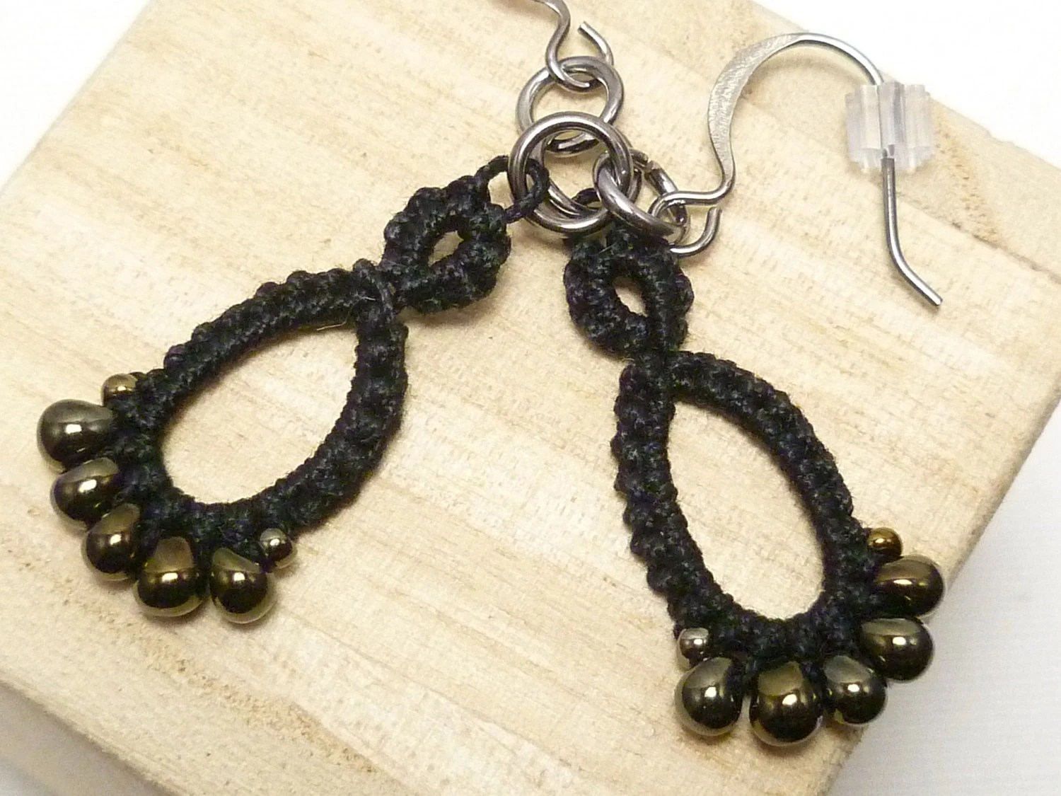 Tatted jewelry earrings in black with dark gold glass -Drips