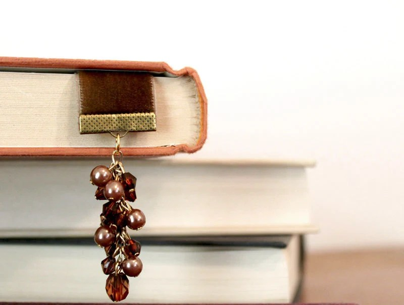 Ribbon Bookmark, Rustic Chocolate Brown Bookmark with Vintage Charms - Alterdelenda