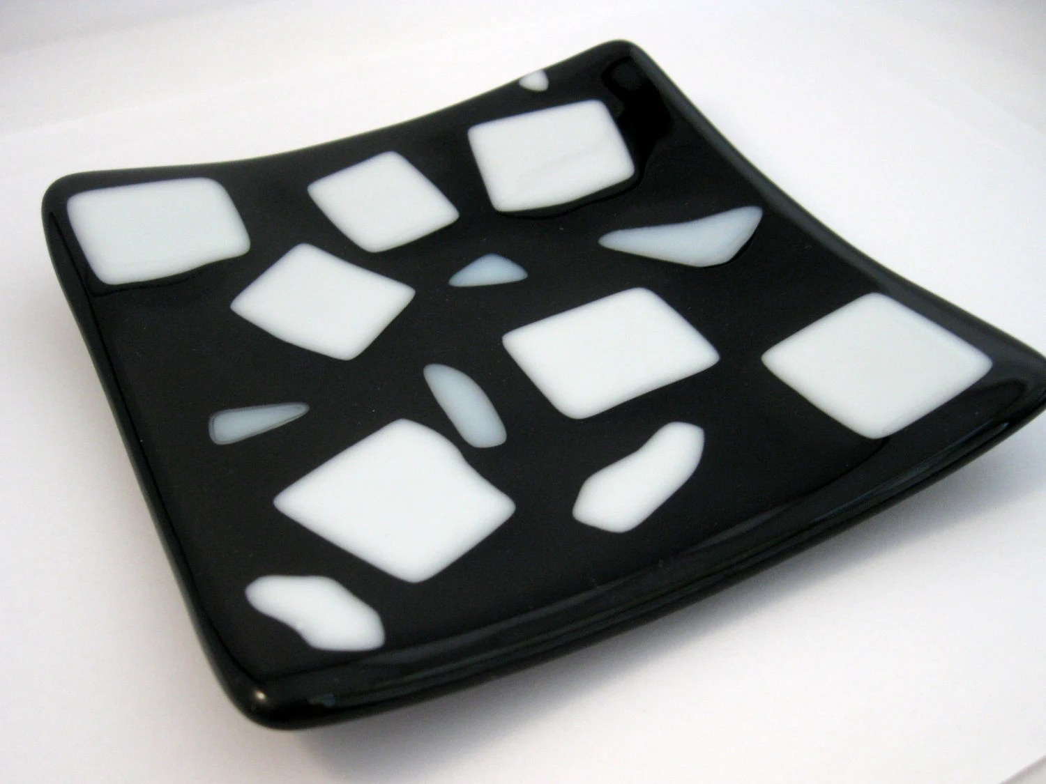 modern home decor - Domino, black white plate, black and white, fused glass, sushi dish, soap dish, modern decor - cjyummies